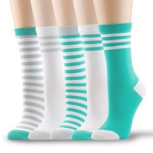 5 Pairs of Women's Cotton Crew Socks Turquoise